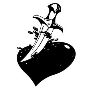 Knife Cutting Bloody Heart Wall Vinyl Art