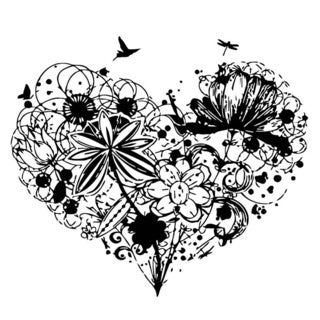 Heart of Flowers and Birds Wall Vinyl Art