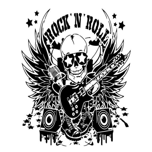 RocK and Roll Skull DJ Wall Vinyl Art