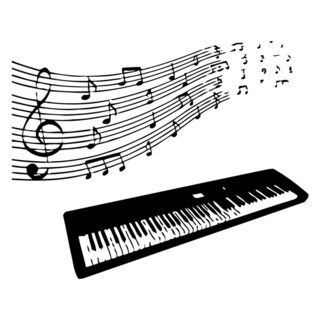 Electric Piano with Notes Wall Vinyl Art