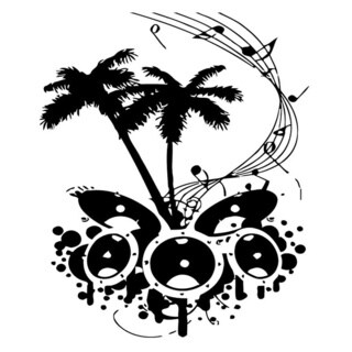 Palm Trees with Music Wall Vinyl Art