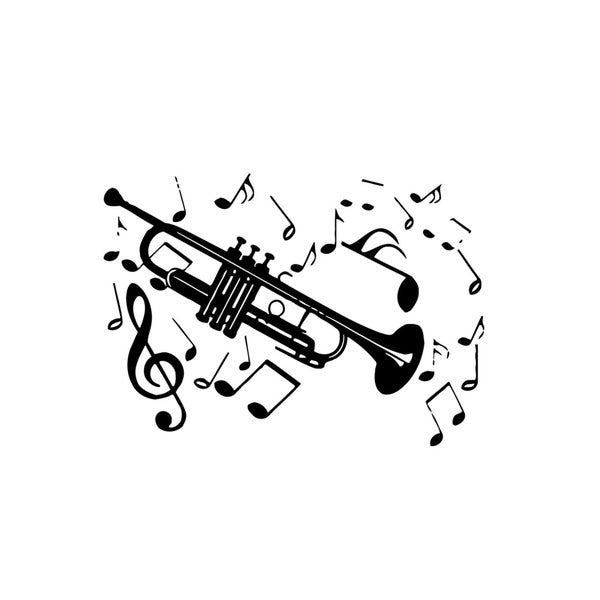 Trumpet with Music Notes Wall Vinyl Art