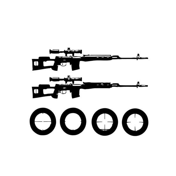 Dragunov Rifles with Scopes Wall Vinyl Art (Set of 2)
