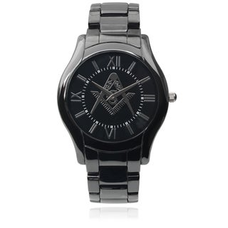 Geneva Platinum Men's Ceramic Masonry Link Watch