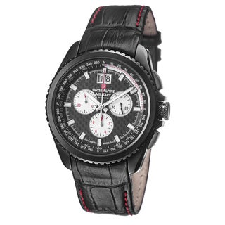 Swiss Alpine Military Men's 1621.9577 SAM 'Thunder' Black Carbon Fiber Dial Leather Watch