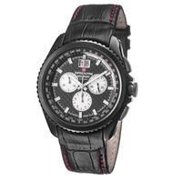 Swiss Alpine Military Men's  'Thunder' Black Carbon Fiber Dial Leather Watch