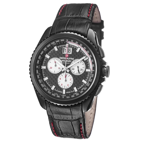 swiss alpine military men s 1621 9577 sam thunder black carbon swiss alpine military men s 1621 9577 sam thunder black carbon fiber dial leather watch