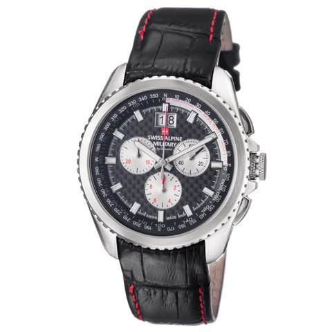 Swiss Alpine Military Men's 'Thunder' Black Carbon Fiber Dial Black Leather Strap Chronograph Watch