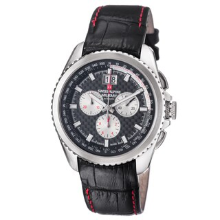 Swiss Alpine Military Men's 1621.9537 SAM 'Thunder' Black Carbon Fiber Dial Black Leather Strap Chronograph Watch