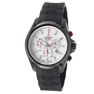 Swiss Alpine Military Men's 1635.9872 SAM 'Red force' White Dial Rubber Strap Chrono Watch