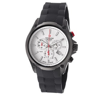 Swiss Alpine Military Men's 'Red force' White Dial Rubber Strap Chrono Watch