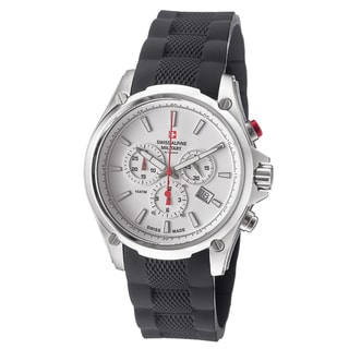 Swiss Alpine Military Men's 1635.9832 SAM 'Red force' White Dial Black Rubber Strap Chrono Watch