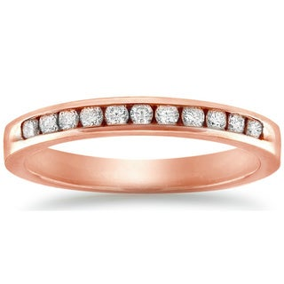 Auriya 10k Rose Gold 1/4ct TDW Channel-set Diamond Wedding Band