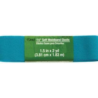 Dritz Soft Waistband Elastic 1-1/2 inches x 2 Yards -Tile Blue
