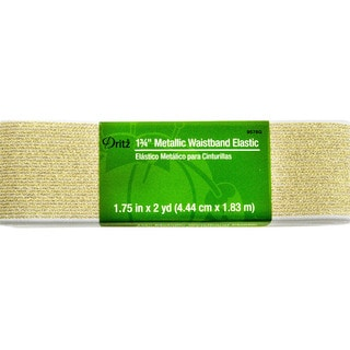 Dritz Metallic Waistband Elastic 1-3/4 inches x 2 Yards - White w/ Gold