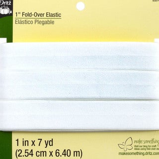 Dritz Fold-Over Elastic 1 inch x 7 Yards - White
