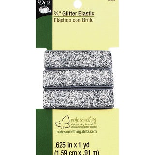 Dritz Glitter Elastic 1 Yard - Silver