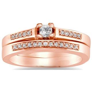Auriya 10k Rose Gold 1/4ct TDW Princess Diamond Bridal Ring Set (I-J, I1-I2)
