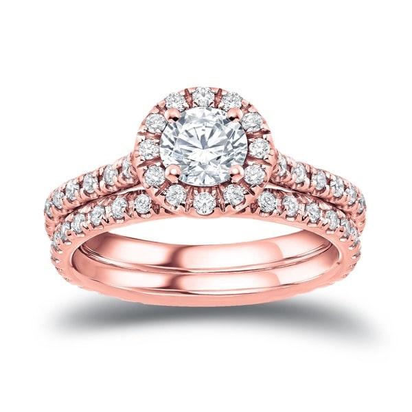 Auriya 14k Rose Gold 1ct TDW Certified Diamond Halo Engagement Ring Bridal Set