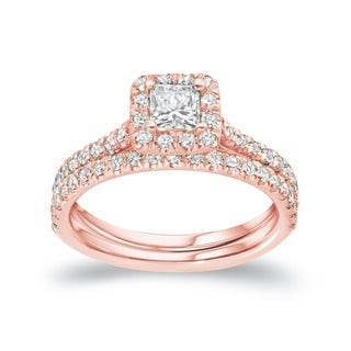 Auriya 14k Rose Gold 1 Carat TW Princess Cut Halo Diamond Engagement Ring Bridal Set