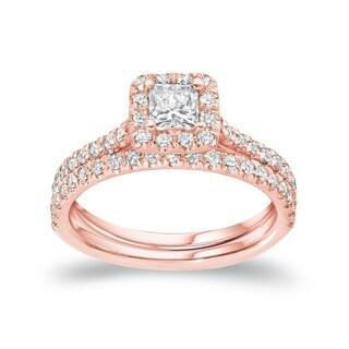14k Rose Gold 1ct TDW Princess Cut Diamond Halo Engagement Ring Set by Auriya