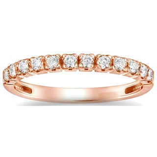 Auriya 14k Rose Gold 4/6ct TDW Round Diamond Wedding Band