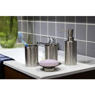 Etched Matte Stainless Steel Bath Accessory 4-piece Set