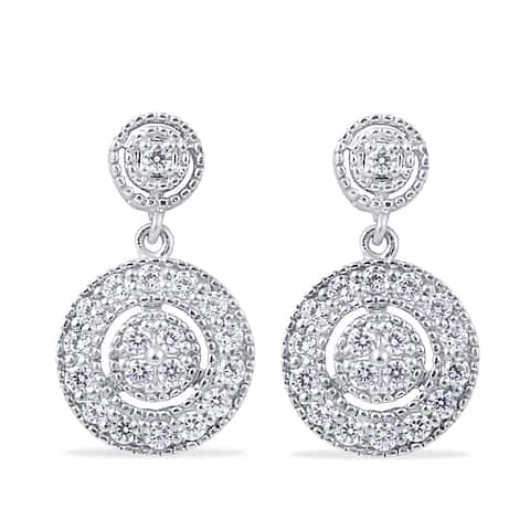 10k White Gold 1/2ct TDW Diamond Dangle Earrings