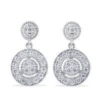 10k White Gold 1/2ct TDW Diamond Dangle Earrings