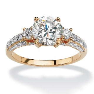 Gold over Sterling Silver Cubic Zirconia 3-Stone Bridal Ring - White