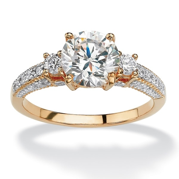 2.38 Tcw Round Cubic Zirconia Engagement Anniversary Ring In Gold Over Sterling Silver