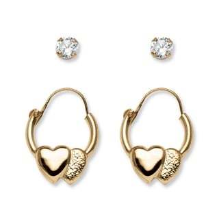 PalmBeach Child's .20 TCW Round Cubic Zirconia 14k Yellow Gold 2-Pairs Heart Hoop Earrings Set Classic CZ