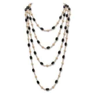 "PalmBeach Genuine Onyx Barrel and Beaded Necklace in Yellow Gold Tone 100"" Naturalist"