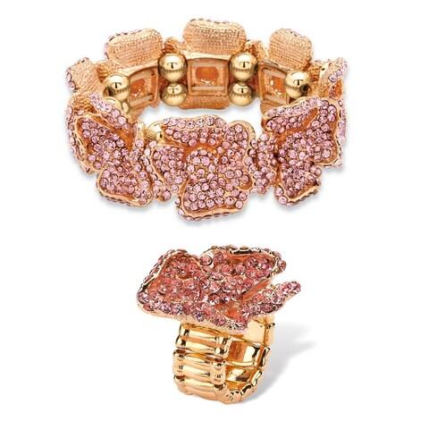 Pink Crystal Rose Gold-Plated Multi-Petal Flower Stretch Bracelet and Ring Set Bold Fashio