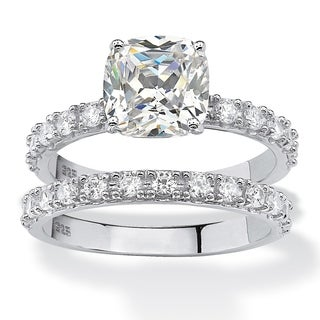 Platinum over Sterling Silver 2.45ct TW Princess-Cut Cubic Zirconia Bridal Ring Set