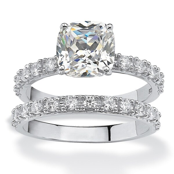 platinum over sterling silver 245ct tw princess cut cubic zirconia bridal ring set - Cubic Zirconia Wedding Ring Sets