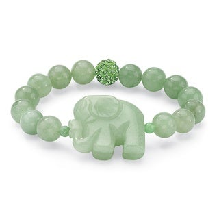 "Green Agate Elephant and Crystal Beaded Stretch Bracelet 8"" Naturalist"