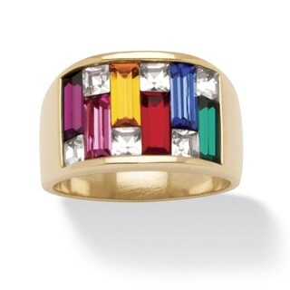 Multicolor Crystal Baguette Ring in 14k Gold-Plated Color Fun