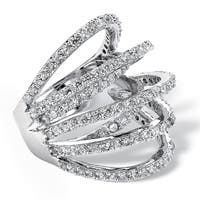 Silver Tone Cubic Zirconia Highway Ring - White