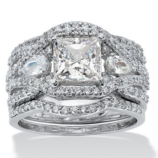 PalmBeach 3 Piece 3.12 TCW Princess-Cut Cubic Zirconia Bridal Ring Set in Platinum over Sterling Silver Glam CZ