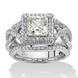 PalmBeach 3 Piece 2.82 TCW Princess-Cut Cubic Zirconia Bridal Ring Set in Platinum over Sterling Silver Glam CZ