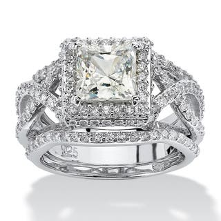 3 piece 282 tcw princess cut cubic zirconia bridal ring set in platinum over sterling - Cz Wedding Rings