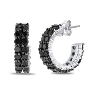 Sterling Silver 2ct Black Diamond Pave Hoop Earrings