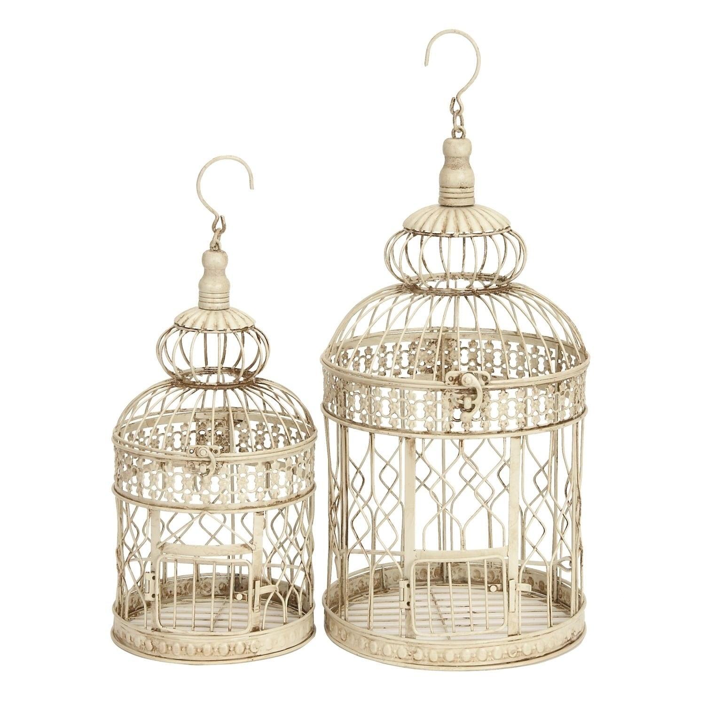 Benzara Metal Tall and Small Bird Cages (Set of 2), Gold