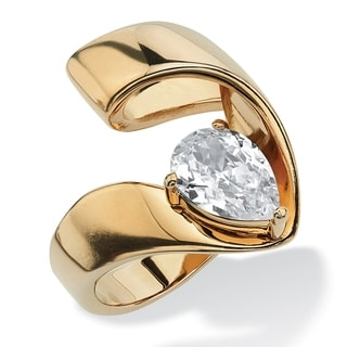 PalmBeach 1.80 TCW Pear-Cut Cubic Zirconia Nestled Ring in Gold Ion-Plated Glam CZ
