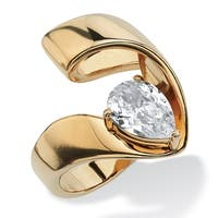Yellow Gold Ion-Plated Cubic Zirconia Ring - White