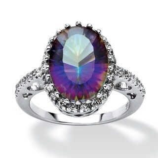 Platinum over Sterling Silver Mystic Fire Quartz and CZ Ring