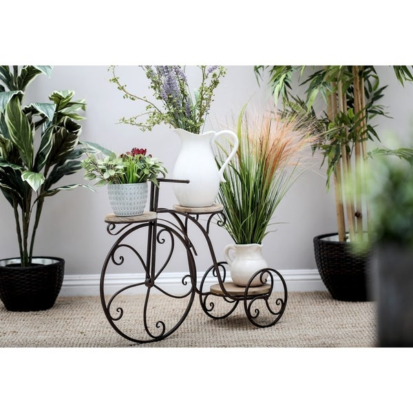 Farmhouse 23 Inch Antique Bronze Bicycle Plant Stand by Studio .350. Opens flyout.