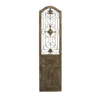 Wooden Garden Wall Plaque With Scrolling Ironwork