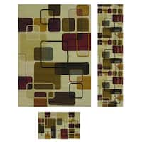 Duo Weave Collection Geometrics Off-white 3-piece Rug Set - 5'3 x 7'2